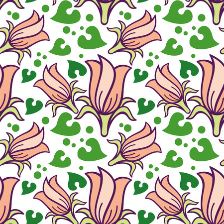 allover: Seamless pattern with bellflowers