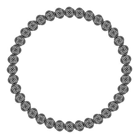an oval: Marco redondo blanco y negro con el ornamento celta