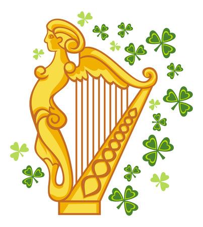 Golden Irish harp