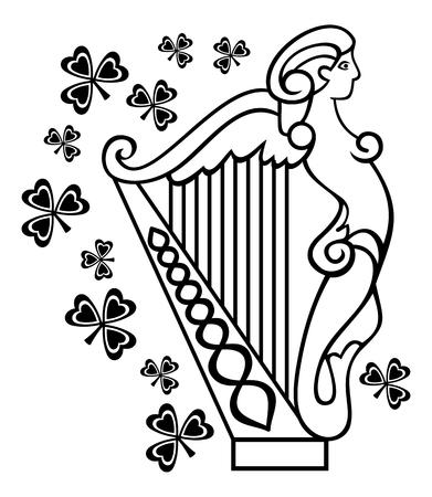 the harp: imagen Esquema de arpa irlandesa Vectores