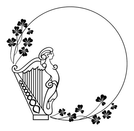 marco blanco y negro redondo con arpa irlandesa Ilustración de vector