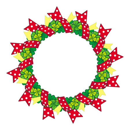 clover shape: Beautiful frame in shape of wreath with clover and ribbons
