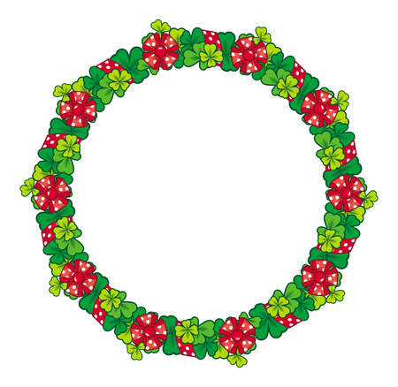 clover shape: Beautiful frame in shape of wreath with clover, bows and ribbons