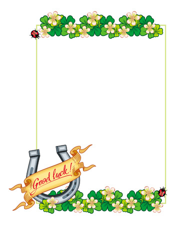 spring roll: Beautiful frame with clover, horseshoe and paper scroll Illustration