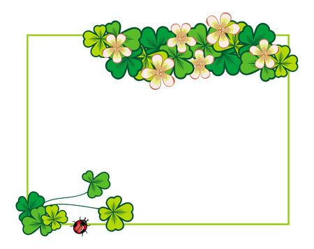 blooming: Horizontal frame with blooming clover
