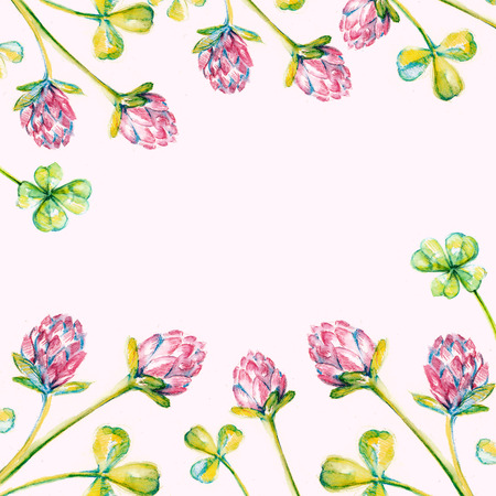free backgrounds: Beautiful background with watercolor drawn clover wreath and free space for your text