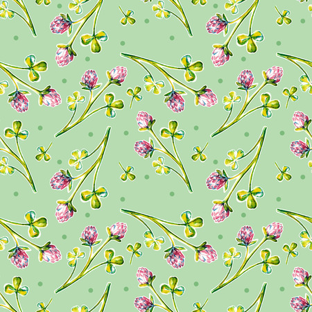 seamless clover: Seamless pattern with watercolor clover leaves
