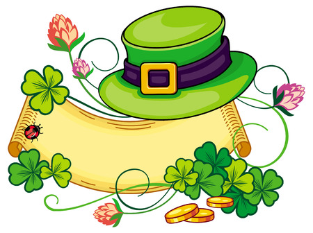 paper scroll: Paper scroll with clover and leprechaun hat