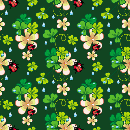 shamrock seamless: Seamless pattern with shamrock, ladybird and water drops Illustration