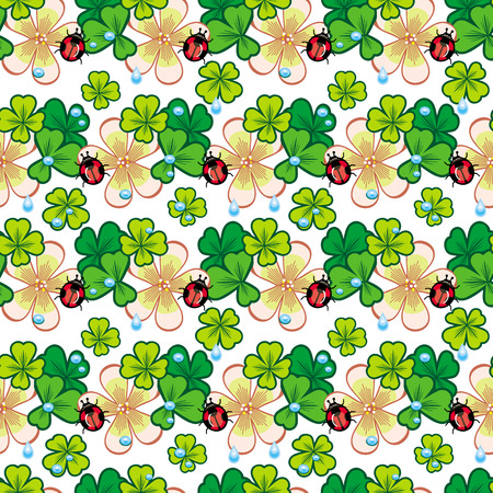 ladybird: Seamless pattern with shamrock, ladybird and water drops Illustration
