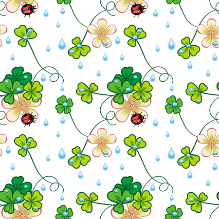 drops of water: Seamless pattern with shamrock, ladybird and water drops Illustration