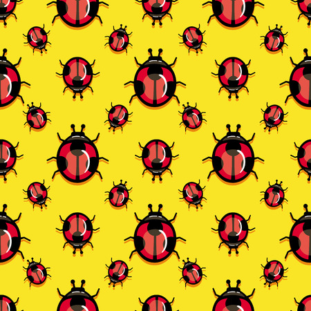 ladybird: Seamless pattern with ladybird on a yellow background