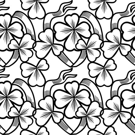 allover: Seamless pattern with shamrock contour