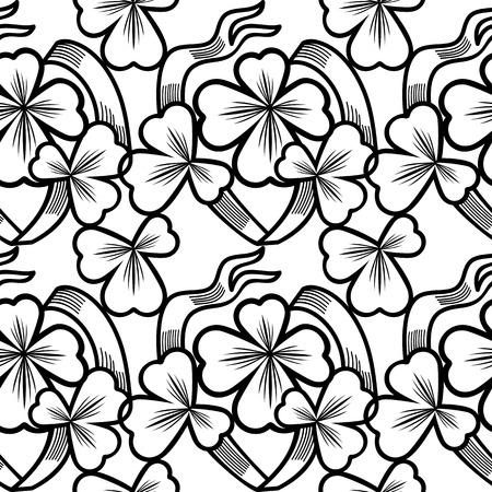 shamrock seamless: Seamless pattern with shamrock contour