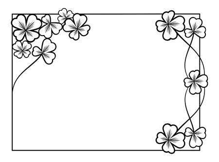 contour: Black and white frame with shamrock contour Illustration