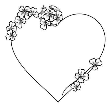 Schöner herzförmiger Rahmen mit Klee Standard-Bild - 52147599