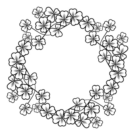 contour: Round outline frame with shamrock contour