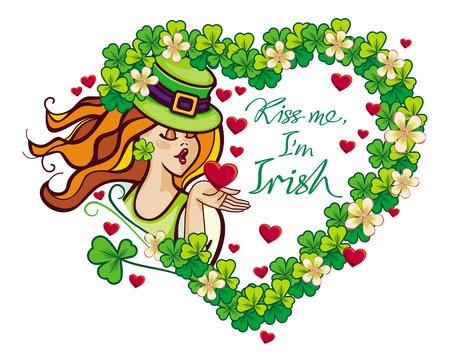 clover face: Kiss me Im irish - St. Patricks Day greeting card