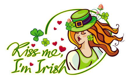 clover face: Kiss me Im irish - St. Patricks Day greeting card