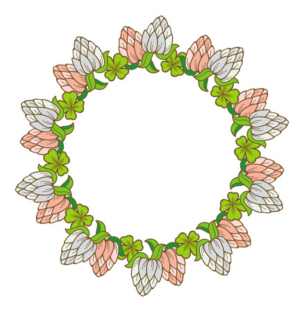 clover shape: Beautiful frame in shape of wreath with blooming clover flowers