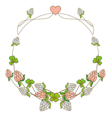 blooming: Beautiful frame in shape of wreath with blooming clover flowers