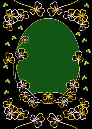 respectable: Golden sparkly clover leaves on a black. Luxury background for St. Patricks greetings card. Illustration