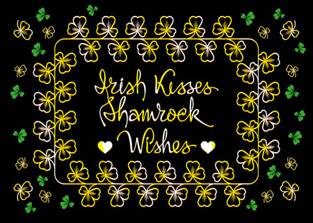 respectable: Vector  St. Patricks greetings card with golden clovers on a black background.