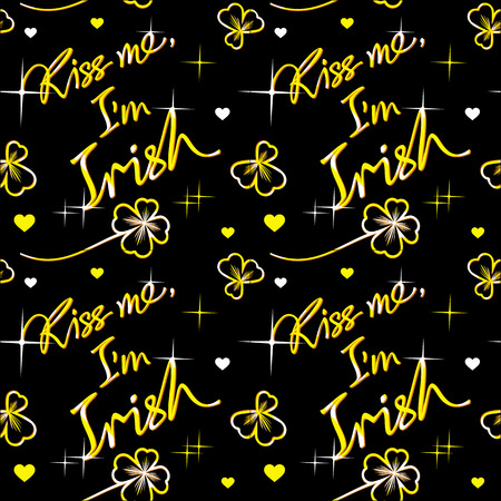 respectable: Seamless pattern with vector images of golden clover and holiday St. Patricks quote on a black. Illustration