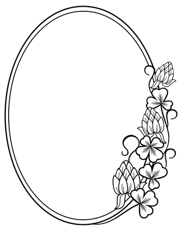 paddys: Oval outline label with clovers and free space for your text Illustration