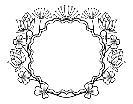 Round outline frame with floral contours