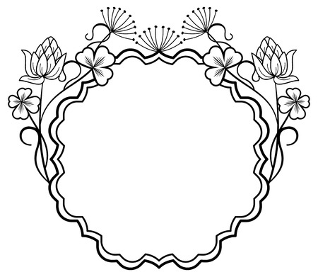 contours: Round outline frame with floral contours