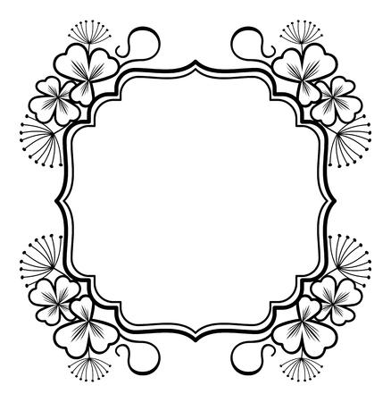 contours: Outline label with floral contours