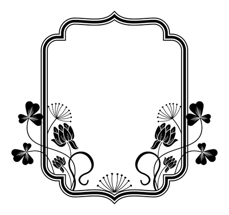 contours: Outline frame with floral contours