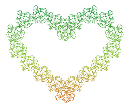 fill: Floral frame with gradient fill. Raster clip art outline drawing.