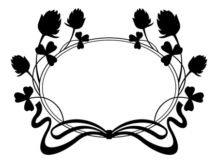 Outline frame with floral silhouette Vektoros illusztráció