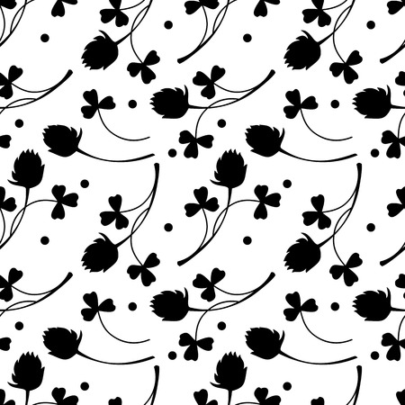 shamrock seamless: Seamless black and white pattern with shamrock silhouette