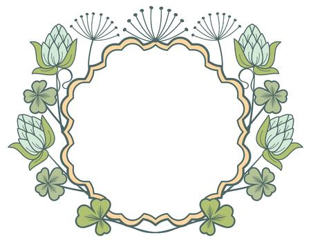 irish easter: Beautiful floral frame. Vector clip art. Illustration