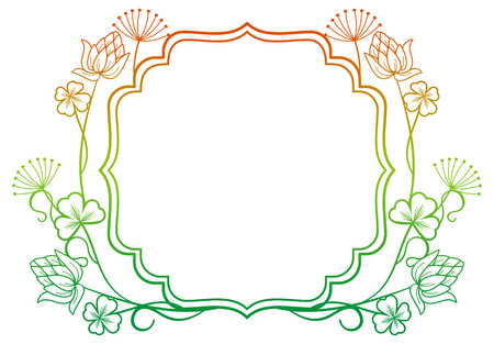 irish easter: Beautiful floral frame with gradient fill. Raster clip art.