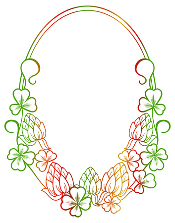 irish easter: Beautiful oval floral frame with gradient fill. Raster clip art. Stock Photo