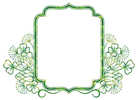 irish easter: Beautiful floral frame. Raster clip art.