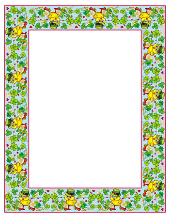 irish easter: Clover frame and funny yellow chick in green hat. Vector clip art. Illustration