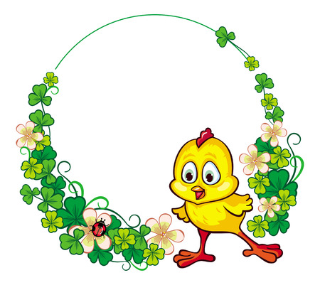 irish easter: Round floral frame with funny yellow chick.Vector clip art. Illustration