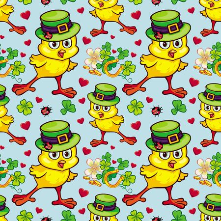 Print design: Seamless pattern with funny yellow chick in green hat. Vector clip art. Illustration