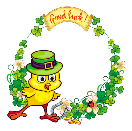 irish easter: Round frame with funny yellow chick in green hat and clover.Vector clip art. Illustration