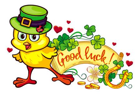irish easter: Funny yellow chicken in the green leprechaun hat. Vector clip art.
