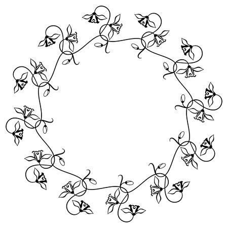 round: Round floral silhouette frame