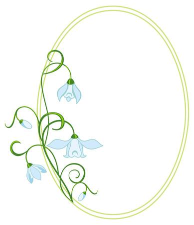 oval frame: Color oval frame with blue flowers Illustration