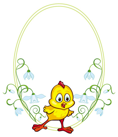 baby chicken: Floral frame with baby chicken
