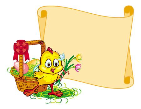 egg roll: Paper swirl frame with Easter basket