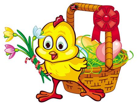 Glückliches Huhn mit Osternest Standard-Bild - 53326489